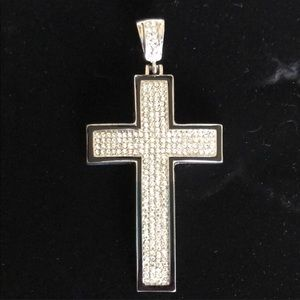 Men's silver bulk thick iced out cross pendant